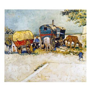 絵画 壁掛け 額縁 アートフレーム付き ヴィンセント・ヴァン・ゴッホ 「家馬車・ジプシーの野営」 F6号 世界の名画シリーズ プリハード|touo