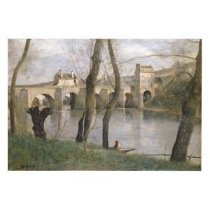 絵画 壁掛け 額縁 アートフレーム付き ジャン・バティスト・カミーユ・コロー 「マントの橋」 F6号 世界の名画シリーズ プリハード|touo