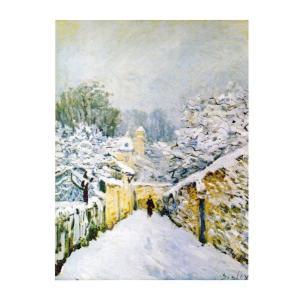 絵画 壁掛け 額縁 アートフレーム付き アルフレッド・シスレー 「ルーヴジェンヌの雪」 F6号 世界の名画シリーズ プリハード|touo