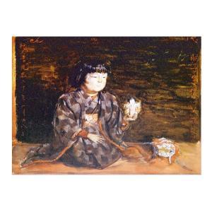 絵画 壁掛け 額縁 アートフレーム付き 岸田劉生 「麗子座像」 F6号 世界の名画シリーズ プリハード|touo