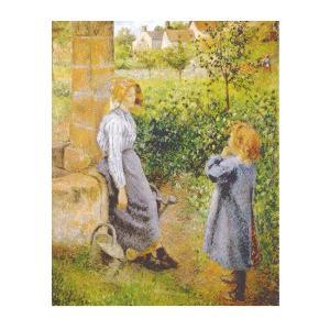 絵画 壁掛け 額縁 アートフレーム付き カミーユ・ピサロ 「井戸端と女と子供」 F6号 世界の名画シリーズ プリハード|touo