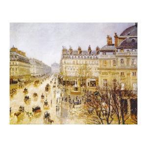 絵画 壁掛け 額縁 アートフレーム付き カミーユ・ピサロ 「テアトル・フランセ広場、雨の効果」 F6号 世界の名画シリーズ プリハード|touo