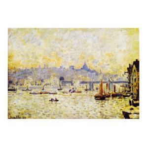 絵画 壁掛け 額縁 アートフレーム付き アルフレッド・シスレー 「テームズ河とチャリング・クロス橋」 半切 世界の名画シリーズ プリハード|touo