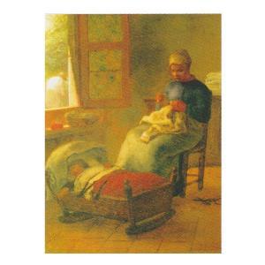 絵画 壁掛け 額縁 アートフレーム付き ジャン・フランソワ・ミレー 「眠った子の傍らで編み物をする女」 F6号 世界の名画シリーズ プリハード|touo