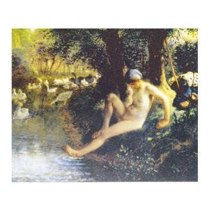 絵画 壁掛け 額縁 アートフレーム付き ジャン・フランソワ・ミレー 「が鳥番の少女」 F6号 世界の名画シリーズ プリハード|touo