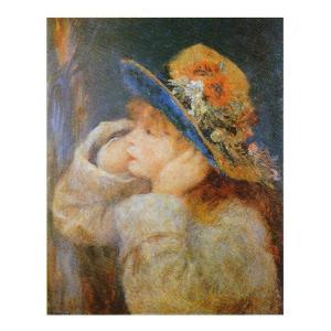 絵画 壁掛け 額縁 アートフレーム付き ピエール・オーギュスト・ルノワール 「野の花の帽子をかぶった少女」 F8号 世界の名画シリーズ プリハード|touo