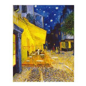 絵画 壁掛け 額縁 アートフレーム付き ヴィンセント・ヴァン・ゴッホ 「夜のカフェテラス」 F8号 世界の名画シリーズ プリハード|touo