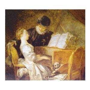 絵画 壁掛け 額縁 アートフレーム付き ジャン・オノレ・フラゴナール 「音楽の稽古」 F8号 世界の名画シリーズ プリハード|touo