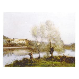 絵画 壁掛け 額縁 アートフレーム付き ジャン・バティスト・カミーユ・コロー 「ヴィル・ダウレー風景」 F8号 世界の名画シリーズ プリハード touo