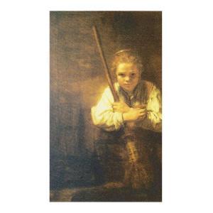 絵画 壁掛け 額縁 アートフレーム付き レンブラント・ファン・レイン 「箒を持つ少女」 F8号 世界の名画シリーズ プリハード|touo