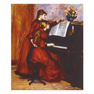 絵画 壁掛け 額縁 アートフレーム付き ピエール・オーギュスト・ルノワール 「ピアノレッスン」 F8号 世界の名画シリーズ プリハード|touo