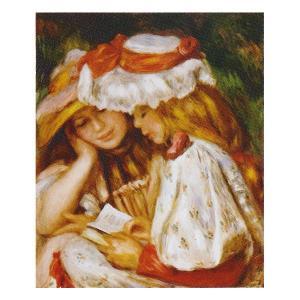絵画 壁掛け 額縁 アートフレーム付き ピエール・オーギュスト・ルノワール 「読書する二人の少女」 F8号 世界の名画シリーズ プリハード|touo