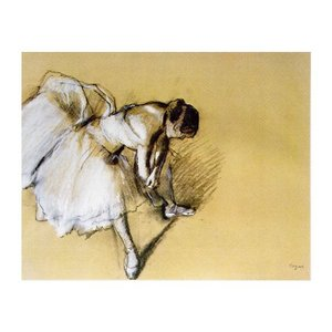 絵画 壁掛け 額縁 アートフレーム付き エドガー・ドガ 「靴下を直す踊り子」 F8号 世界の名画シリーズ プリハード|touo