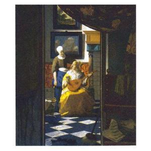 絵画 壁掛け 額縁 アートフレーム付き フェルメール 「恋文」 F8号 世界の名画シリーズ プリハード|touo