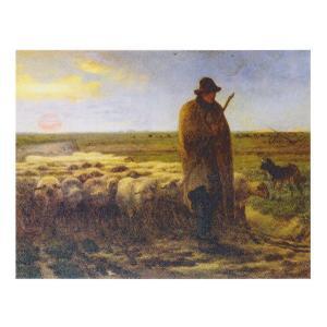 絵画 壁掛け 額縁 アートフレーム付き ジャン・フランソワ・ミレー 「夕暮れに羊を連れ帰る羊飼い」 M8号 世界の名画シリーズ プリハード|touo