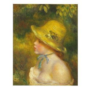 絵画 壁掛け 額縁 アートフレーム付き ピエール・オーギュスト・ルノワール 「麦わら帽子を被った若い娘」 F8号 世界の名画シリーズ プリハード|touo