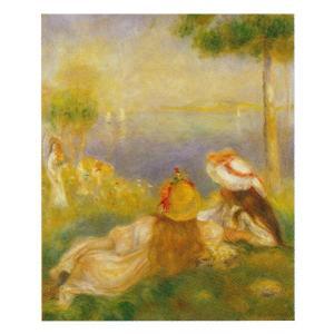 絵画 壁掛け 額縁 アートフレーム付き ピエール・オーギュスト・ルノワール 「海辺の若い娘達」 F8号 世界の名画シリーズ プリハード|touo