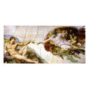 絵画 壁掛け 額縁 アートフレーム付き ミケランジェロ・ブオナローティー 「アダムの創造」 大全紙 世界の名画シリーズ プリハード|touo