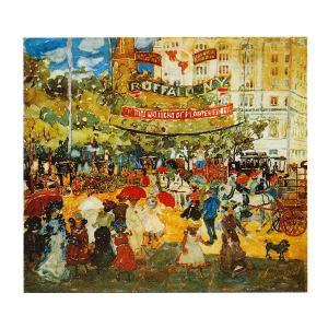 絵画 壁掛け 額縁 アートフレーム付き モーリス・プレンダガスト 「マジソン・スクエア」 F8号 世界の名画シリーズ プリハード|touo