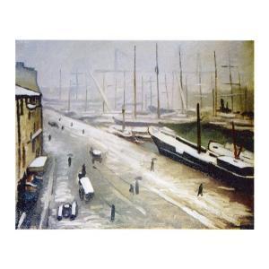 絵画 壁掛け 額縁 アートフレーム付き アルベール・マルケ 「マルセーユ港雪景色」 F8号 世界の名画シリーズ プリハード|touo