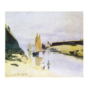 絵画 壁掛け 額縁 アートフレーム付き クロード・モネ 「トゥルヴィルの港」 F8号 世界の名画シリーズ プリハード|touo
