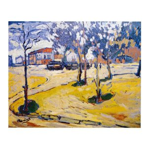 絵画 壁掛け 額縁 アートフレーム付き モーリス・ド・ブラマンク 「広場の木立」 F8号 世界の名画シリーズ プリハード|touo