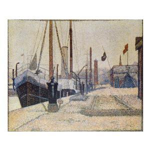 絵画 壁掛け 額縁 アートフレーム付き ジョルジュ・スーラ 「オンフルール港の船」 F8号 世界の名画シリーズ プリハード|touo
