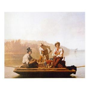 絵画 壁掛け 額縁 アートフレーム付き ジョージ・ケイラブ・ビンガム 「ミズーリ川の舟人たち」 F8号 世界の名画シリーズ プリハード|touo