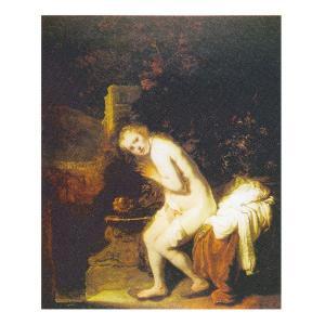 絵画 壁掛け 額縁 アートフレーム付き レンブラント・ファン・レイン 「スザンナの水浴」 F8号 世界の名画シリーズ プリハード|touo