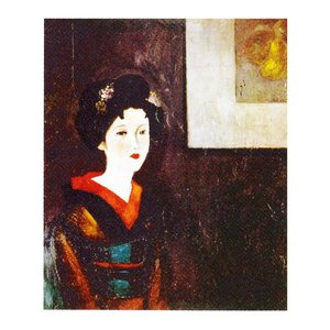 絵画 壁掛け 額縁 アートフレーム付き 竹久夢二 「黄八丈」 F8号 世界の名画シリーズ プリハード|touo