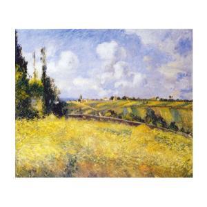 絵画 壁掛け 額縁 アートフレーム付き カミーユ・ピサロ 「ポントワーズ・ライ麦畑とマチュランの丘」 F8号 世界の名画シリーズ プリハード|touo