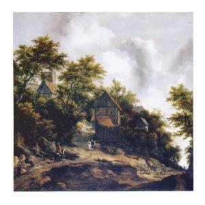 絵画 壁掛け 額縁 アートフレーム付き ヤーコブ・ファン・ロイスダール 「ベントハイム城の見える風景」 F8号 世界の名画シリーズ プリハード|touo