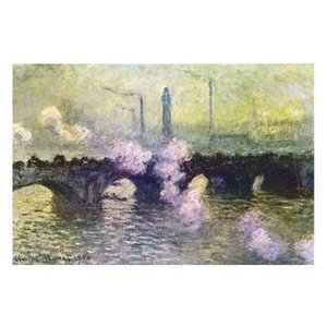 絵画 壁掛け 額縁 アートフレーム付き クロード・モネ 「ウォータール橋(煙る曇り日)」 M8号 世界の名画シリーズ プリハード|touo