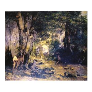 絵画 壁掛け 額縁 アートフレーム付き ギュスターヴ・クールベ 「流れに憩う鹿」 F8号 世界の名画...