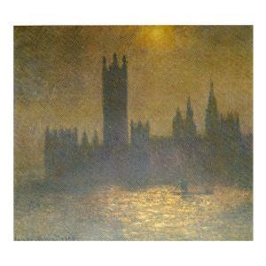 絵画 壁掛け 額縁 アートフレーム付き クロード・モネ 「ロンドンの議事堂(霧の中の日差し)」 サイズF10号 世界の名画シリーズ プリハード|touo