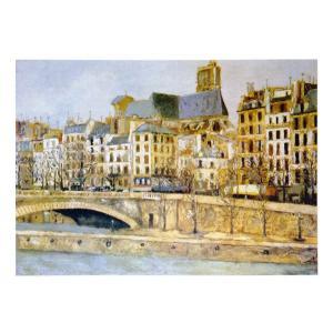 絵画 壁掛け 額縁 アートフレーム付き モーリス・ユトリロ 「パリのサン・ジェルヴェ教会」 P10号 世界の名画シリーズ プリハード|touo