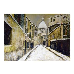絵画 壁掛け 額縁 アートフレーム付き モーリス・ユトリロ 「雪のサクレ・クールとサン・リュスティック通り」 P10号 世界の名画シリーズ プリハード|touo