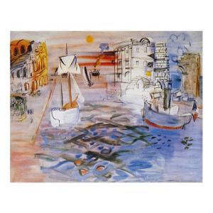絵画 壁掛け 額縁 アートフレーム付き ラウル・デュフィ 「帆船のある港」 P10号 世界の名画シリーズ プリハード|touo