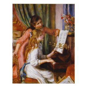 絵画 壁掛け 額縁 アートフレーム付き ピエール・オーギュスト・ルノワール 「ピアノに向かう二人の若い娘」 P10号 世界の名画シリーズ プリハード|touo