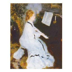 絵画 壁掛け 額縁 アートフレーム付き ピエール・オーギュスト・ルノワール 「ピアノを弾く若い女」 P10号 世界の名画シリーズ プリハード|touo