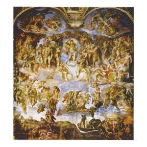 絵画 壁掛け 額縁 アートフレーム付き ミケランジェロ・ブオナローティー 「最後の審判」 大全紙 世界の名画シリーズ プリハード|touo