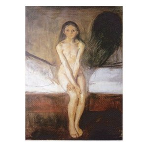 絵画 壁掛け 額縁 アートフレーム付き エドヴァルド・ムンク 「思春期」 P10号 世界の名画シリーズ プリハード|touo