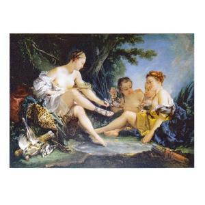 絵画 壁掛け 額縁 アートフレーム付き フランソワ・ブーシェ 「狩りから帰るダイアナ」 P10号 世界の名画シリーズ プリハード|touo