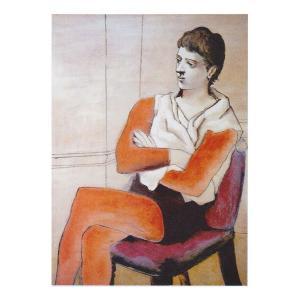 絵画 壁掛け 額縁 アートフレーム付き パブロ・ピカソ 「腕を組んで座る軽業師」 P10号 世界の名画シリーズ プリハード|touo
