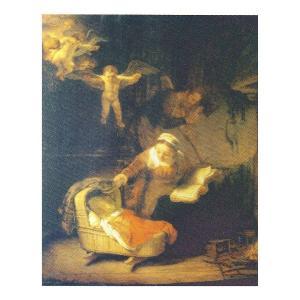 絵画 壁掛け 額縁 アートフレーム付き レンブラント・ファン・レイン 「天使のいる聖家族」 P10号 世界の名画シリーズ プリハード|touo