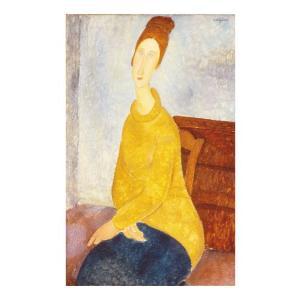 絵画 壁掛け 額縁 アートフレーム付き アメディオ・モディリアーニ 「黄色のセーターを着たジャンヌ」 M12号 世界の名画シリーズ プリハード|touo