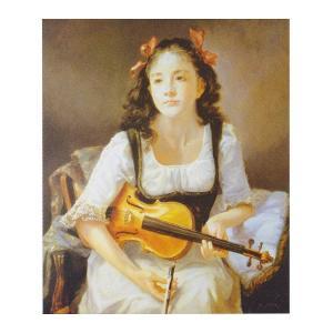 絵画 壁掛け 額縁 アートフレーム付き 奥 龍之介 「ヴァイオリンを持つ少女」 サイズF10号 世界の名画シリーズ プリハード|touo