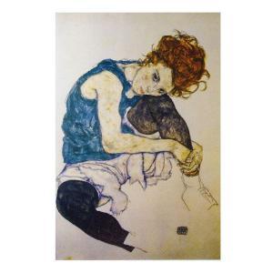 絵画 壁掛け 額縁 アートフレーム付き エゴン・シーレ 「座る女」 P10号 世界の名画シリーズ プリハード|touo