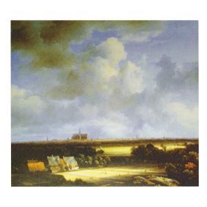 絵画 壁掛け 額縁 アートフレーム付き ヤーコブ・ファン・ロイスダール 「ハーレム遠望」 サイズF10号 世界の名画シリーズ プリハード|touo
