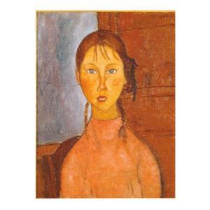 絵画 壁掛け 額縁 アートフレーム付き アメディオ・モディリアーニ 「おさげ髪の少女」P10号 世界の名画シリーズ プリハード|touo